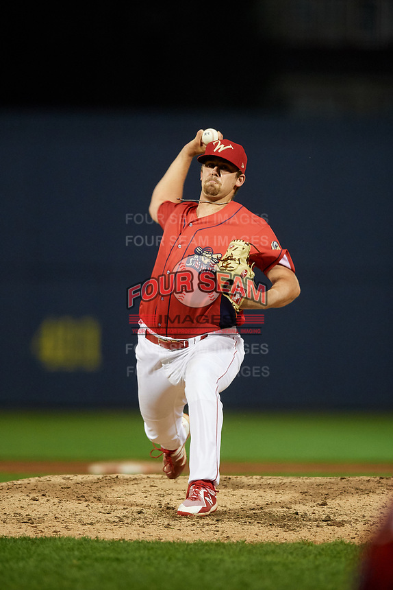 Williamsport Crosscutters relief pitcher Blake Bennett (47) delivers a pitch during a game against the Mahoning Valley Scrappers on August 28, 2018 at BB&T Ballpark in Williamsport, Pennsylvania.  Williamsport defeated Mahoning Valley 8-0.  (Mike Janes/Four Seam Images)