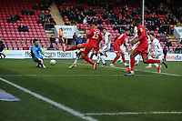Bradford's Richard O'Donnell saves form a 1st half Dan Happe shot during Leyton Orient vs Bradford City, Sky Bet EFL League 2 Football at The Breyer Group Stadium on 14th December 2019