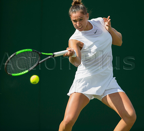 July 3rd 2017, All England Lawn Tennis and Croquet Club, London, England; The Wimbledon Tennis Championships, Day 1;  Sara Sorribes Tormo (ESP) focuses on the ball as she plays a forehand return to Naomi Osaka (JPN)