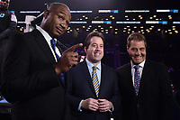 """BROOKLYN, NY - DECEMBER 22: (L-R ) Sports commentators Lennox Lewis, Kenny Albert and Joe Goossen attend the Fox Sports and Premier Boxing Champions  December 22 """"PBC on Fox"""" Fight Night at the Barclays Center on December 22, 2018 in Brooklyn, New York. (Photo by Anthony Behar/Fox Sports/PictureGroup)"""