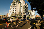 Bikes and cars outside the Waterfront Pearl Condominiums, Portland, Oregon