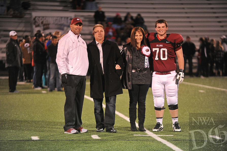 NWA Media/Michael Woods --10/31/2014-- w @NWAMICHAELW... Fort Smith South Side vs Springdale High School during Senior night at Bulldog Stadium Friday night in Springdale.