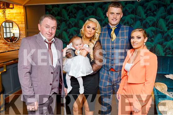The christening of Ruby Grace Lynch from Tralee in the Ashe Hotel on Sunday.<br /> Gerard Lynch (GF), Dana Ward, Gearoid Lynch and Rachel Ward (GM).