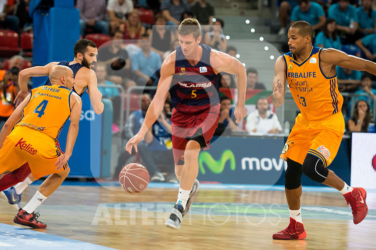 Herbalife Gran Canaria's players Albert Oliver and Eulis Baez and FC Barcelona Lassa player Pau Ribas and Justin Doellman during the final of Supercopa of Liga Endesa Madrid. September 24, Spain. 2016. (ALTERPHOTOS/BorjaB.Hojas)