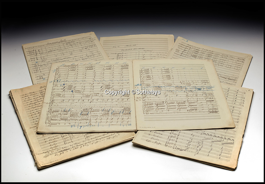BNPS.co.uk (01202 558833)<br /> Pic: Sothebys/BNPS<br /> <br /> A unique, handwritten musical score composed by classical giant Gustav Mahler has been given a record £3.5 million price tag. <br /> <br /> The 232 pages comprising the Austrian maestro's iconic Symphony No. 2, known as Resurrection, will become the most expensive musical manuscript ever if its estimate is met. <br /> <br /> Written between 1888 and 1894 and containing Mahler's alterations and corrections in the margins, the historic late-romantic piece has emerged after its owner Gilbert Kaplan, a Wall Street millionaire, died aged 74 in January this year. <br /> <br /> It is being auctioned on behalf of Kaplan's estate at Sotheby's, London, on November 29.
