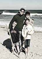 Family on beach vacation.