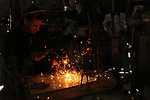 Anas Helles, a 27 year-old Palestinian blacksmith, make creative metal sculptures  at his workshop in Gaza city, on March 17, 2019. Helles try to work on his free time to turn recycled metals into scrap metal art beside his blacksmithing profession. Photo by Mahmoud Ajjour