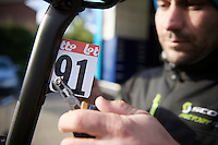 putting the race numbers on  the day before the race<br /> <br /> 102nd Liège-Bastogne-Liège 2016