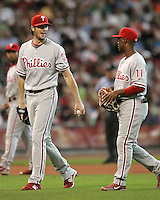Phillies pitcher Cole Hamels and Jimmy Rollins on Sunday May 25th at Minute Maid Park in Houston, Texas. Photo by Andrew Woolley / Four Seam Images.