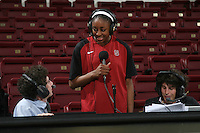 STANFORD, CA - FEBRUARY 1:  Nnemkadi Ogwumike of the Stanford Cardinal interviews during Stanford's 68-51 win over the UCLA Bruins on February 1, 2009 at Maples Pavilion in Stanford, California.