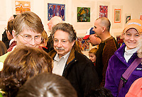 Mayoral candidate Paul Solgin visits the Young at Art opening, MMOCA exhibit featuring kid artists from Madison on Sunday, 3/20/11, at the Madison Museum of Contemporary Art in Madison, Wisconsin