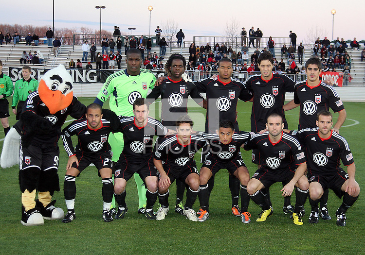 Starting eleven of D.C. United  during a play-in game for the US Open Cup tournament against the Philadelphia Union at Maryland Sportsplex, in Boyds, Maryland on April 6 2011. D.C. United won 3-2 after overtime penalty kicks.