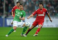 FUSSBALL   1. BUNDESLIGA   SAISON 2011/2012    12. SPIELTAG SV Werder Bremen - 1. FC Koeln                              05.11.2011 Aleksandar IGNJOVSKI(li Bremen) gegen Sascha RIETHER (re, Koeln)