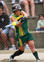 Hutt Valley's Lara Andrews during round two of the National Women's Softball Championships at Hataitai Park, Wellington, NewZealand on Sunday 2 February 2009. Photo: Dave Lintott / lintottphoto.co.nz