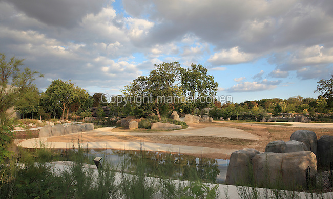 Landscape of the Zone Sahel-Soudan in the new Parc Zoologique de Paris or Zoo de Vincennes, (Zoological Gardens of Paris or Vincennes Zoo), which reopened April 2014, part of the Museum national d'Histoire naturelle (National Museum of Natural History), 12th arrondissement, Paris, France. Picture by Manuel Cohen