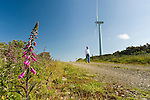 Pat Blount walks by one of his windmills