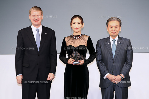 "Japanese actress Yasuko Matsuyuki attends the ""Women of the Year"" Award Ceremony at the Japan Jewellery Fair 2018 in Tokyo Big Sight on August 29, 2018, Tokyo, Japan. The annual award is presented to women who have excelled in fields such as business, sports, and society, and is chosen by the Japan Jewellery Association. (Photo by Sho Tamura/AFLO)"