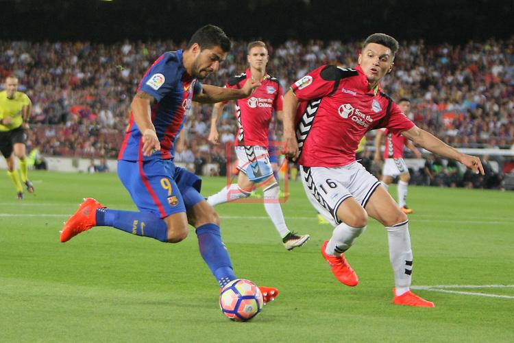 League Santander 2016/2017. Game: 3.<br /> FC Barcelona vs Deportivo Alaves: 1-2.<br /> Luis Suarez vs Torres.