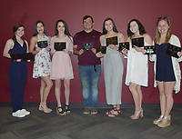 RICK PECK/SPECIAL TO MCDONALD COUNTY PRESS<br /> 2018-2019 Cheerleading Awards - Brooke Cooper (Best Teammate and Four-Year Commitment), Lily Parnell (Best Jumps), Madison Smith (Four-Year Commitment), Sam Whitehill (Best Coed Stuntsman), Bailey Barrett (Most Spirited and Four-Year Commitment), Joslyn Banta (Best All-Around and Four-Year Commitment) and Kitrell Henighen (Beat Teammate and Four-Year Commitment). Not present: Caitlynn Stouder (Most Spirited).