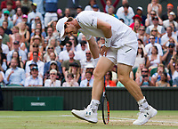 Andy Murray (1) of Great Britain holding his hip during his defeat by Sam Querrey (24) of United States in their Men&rsquo;s Singles Quarter Final Match today - Querrey def Murray 3-6, 6-4, 6-7, 6-1, 6-1<br /> Photographer Ashley Western/CameraSport<br /> <br /> Wimbledon Lawn Tennis Championships - Day 9 - Wednesday 12th July 2017 -  All England Lawn Tennis and Croquet Club - Wimbledon - London - England<br /> <br /> World Copyright &not;&copy; 2017 CameraSport. All rights reserved. 43 Linden Ave. Countesthorpe. Leicester. England. LE8 5PG - Tel: +44 (0) 116 277 4147 - admin@camerasport.com - www.camerasport.com
