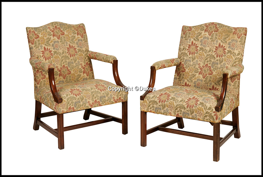 BNPS.co.uk (01202 558833)<br /> Pic: Dukes/BNPS<br /> <br /> A pair of George III style mahogany Gainsborough armchairs, estimated £1,000.<br /> <br /> The collection of an influential politician who helped bring Thatcher to power is going under the hammer and expected to fetch more than £86,000.<br /> <br /> More than 100 items owned by the late Sir Edward du Cann, including a rare maquette of Winston Churchill worth £50,000, have been put up for sale by his family with Duke's of Dorchester in Dorset following his death last year.<br /> <br /> Sir Edward was an MP for 31 years and the longest serving chairman of the powerful 1922 committee, where he was instrumental in bringing Margaret Thatcher to power in 1979, and his name was never far from the front pages of the national newspapers in the 1960s and 70s.<br /> <br /> Among the items being sold are several bronze sculptures of Prime Ministers Winston Churchill, Margaret Thatcher and Clement Atlee.<br /> <br /> The collection will be sold in the Dorchester saleroom on September 6.