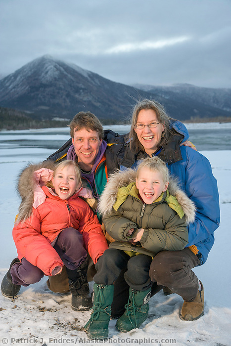 Berni and Uta Hicker with children Leo and Julia. Brooks Range, Alaska.