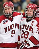 Danny Biega (Harvard - 9), Chris Huxley (Harvard - 28) - The Harvard University Crimson defeated the visiting Colgate University Raiders 6-2 (2 EN) on Friday, January 28, 2011, at Bright Hockey Center in Cambridge, Massachusetts.