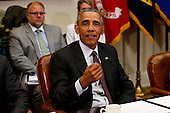 United States President Barack Obama meets with small business owners to discuss the importance of the reauthorization of the Export-Import Bank in the Roosevelt Room of the White House on July 22, 2015, in Washington, DC.  <br /> Credit: Aude Guerrucci / Pool via CNP