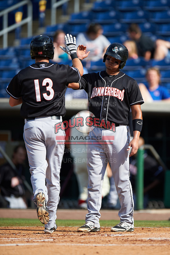 Jupiter Hammerheads Justin Bohn (13) high fives Rodrigo Vigil (7) during the first game of a doubleheader against the Clearwater Threshers on July 25, 2015 at Bright House Field in Clearwater, Florida.  Jupiter defeated Clearwater 8-5.  (Mike Janes/Four Seam Images)