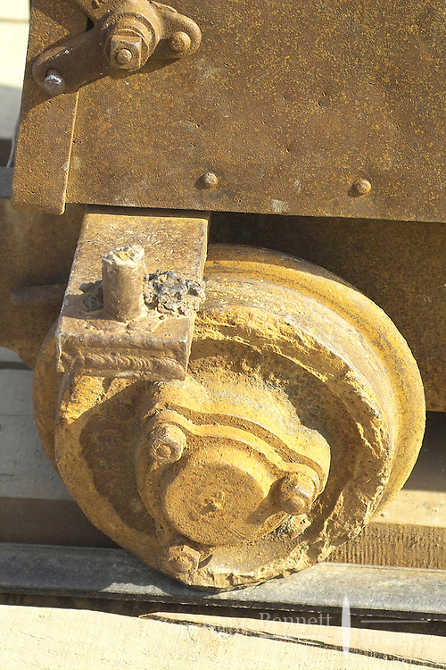 Close-up of the wheel on an ore car at Independence Mine State Historical Park, in the Hatcher Pass area about 50 miles north of Anchorage, Alaska.