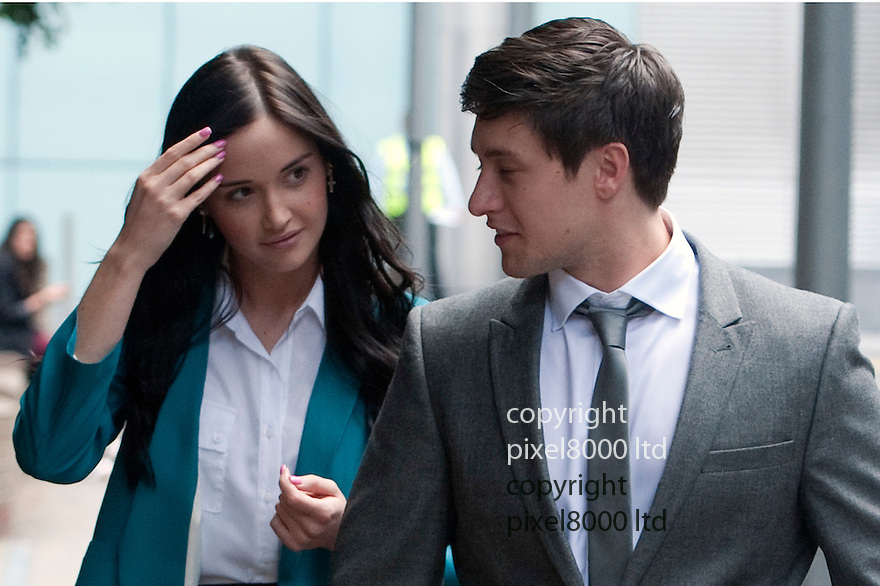 Tony Discipline EastEnders star leaves at Southwark Crown Court today after being acquitted on assault and GBH charges...he left with his real life girlfriend Jaqueline Jossa, who plays Lauren Branning in EastEnders,..He plays Tyler Moon in the EastEnders soap opera on BBC...He arrived with family members believed to be his parents......Pic by Gavin Rodgers/Pixel 8000 Ltd