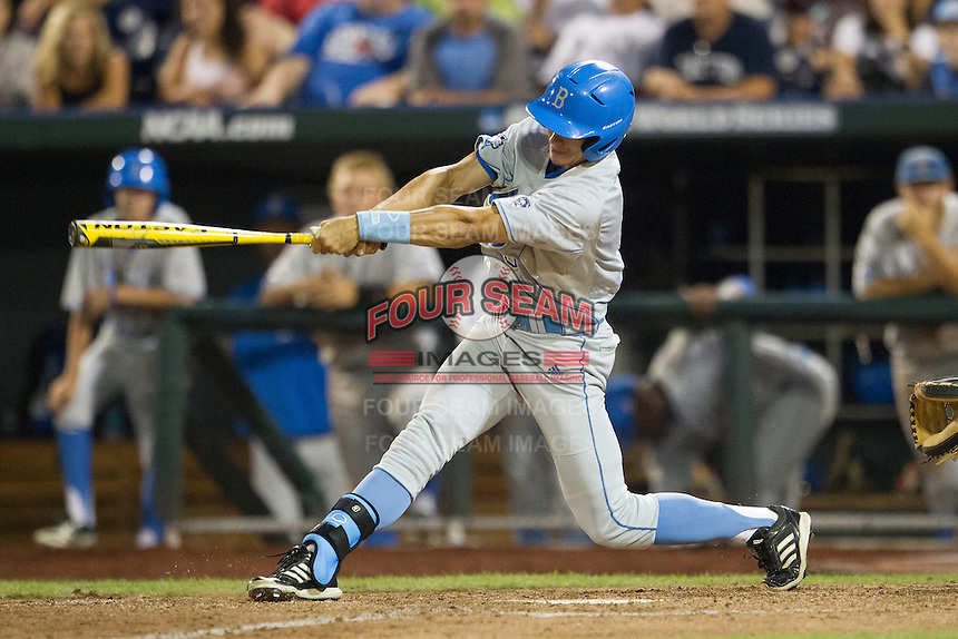 UCLA outfielder Christoph Bono (3) swings the bat during Game 1 of the 2013 Men's College World Series Finals against the Mississippi State Bulldogs on June 24, 2013 at TD Ameritrade Park in Omaha, Nebraska. The Bruins defeated the Bulldogs 3-1, taking a 1-0 lead in the best of 3 series. (Andrew Woolley/Four Seam Images)