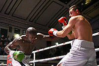 Daniel Mendes (white/black shorts) defeats Toni Bilic during a Boxing Show at York Hall on 10th June 2017