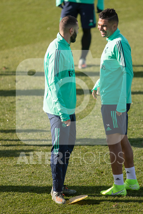 Real Madrid's Casemiro and Benzema during training session. <br /> November 25 ,2019.<br /> (ALTERPHOTOS/David Jar)