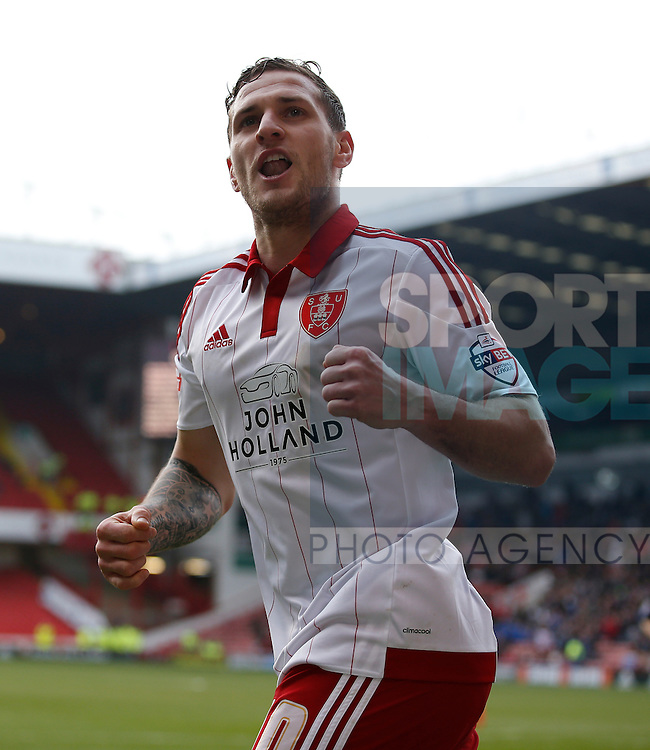 Billy Sharp of Sheffield Utd celebrates scoring the third goal during the Sky Bet League One match at The Bramall Lane Stadium.  Photo credit should read: Simon Bellis/Sportimage