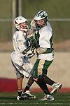 Palos Verdes, CA 03/23/10 - Ryan Brothers (PV # 18) and Hayden Gidan (MC # 4) in action during the Mira Costa-Palos Verdes Junior Varsity game at Palos Verdes High School, Palos Verdes defeated Mira Costa.