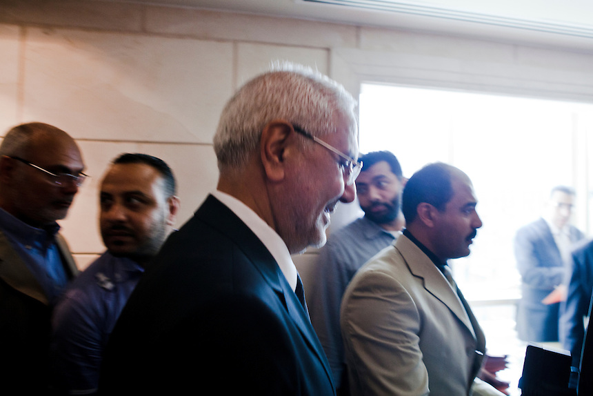 Presidential candidate Dr Abdel Moneim Aboul Fotouh leaves a press conference he held to complain about campaign violations and voting irregularities in the first round of voting, saying he did not recognise the official results, Cairo, Egypt, May 28, 2012. Photo: ED GILES.