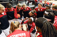 STANFORD, CA - February 27, 2014: Stanford Cardinal's Chiney Ogwumike and team before Stanford's 83-60 victory over Washington at Maples Pavilion.