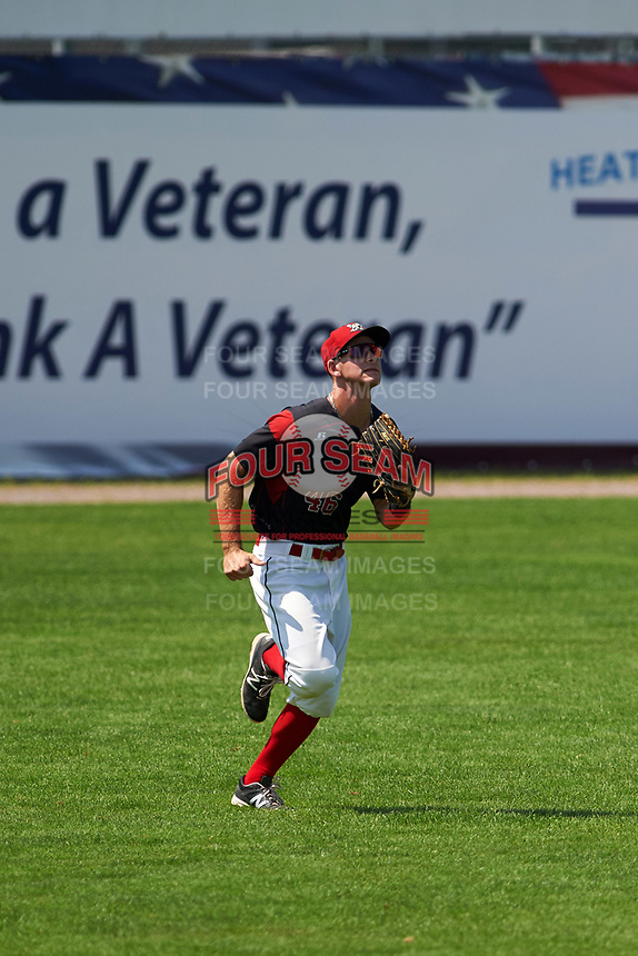 Batavia Muckdogs left fielder Mathew Brooks (46) tracks a fly ball during a game against the Tri-City ValleyCats on July 16, 2017 at Dwyer Stadium in Batavia, New York.  Tri-City defeated Batavia 13-8.  (Mike Janes/Four Seam Images)