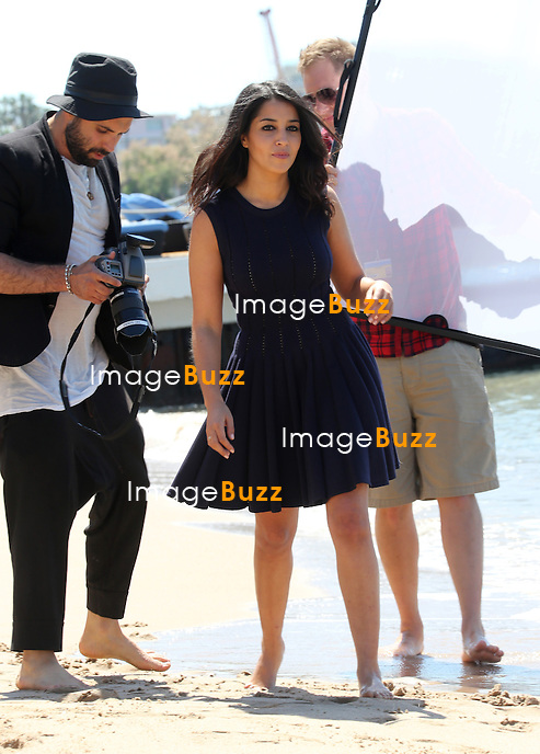 Leila Bekhti during a photoshoot  on the beach during the 67th Cannes Film Festival<br /> France, Cannes, May 17, 2014.