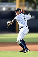 Tampa Yankees shortstop Cito Culver (2) throws to first during a game against the Dunedin Blue Jays on June 28, 2014 at George M. Steinbrenner Field in Tampa, Florida.  Tampa defeated Dunedin 5-2.  (Mike Janes/Four Seam Images)