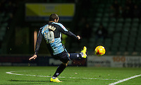 Michael Harriman of Wycombe Wanderers fires a shot at goal during the Sky Bet League 2 match between Yeovil Town and Wycombe Wanderers at Huish Park, Yeovil, England on 24 November 2015. Photo by Andy Rowland.