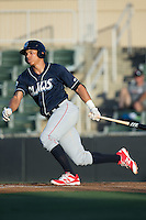 Jan Hernandez (4) of the Lakewood BlueClaws follows through on his swing against the Kannapolis Intimidators at Kannapolis Intimidators Stadium on August 11, 2016 in Kannapolis, North Carolina.  The Intimidators defeated the BlueClaws 3-1.  (Brian Westerholt/Four Seam Images)