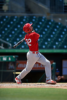 Palm Beach Cardinals second baseman Stefan Trosclair (22) follows through on a swing during a game against the Jupiter Hammerheads on August 5, 2018 at Roger Dean Chevrolet Stadium in Jupiter, Florida.  Jupiter defeated Palm Beach 3-0.  (Mike Janes/Four Seam Images)