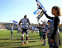Niko Matawalu and the rest of the Bath Rugby team make their way out onto the field. Aviva Premiership match, between Bath Rugby and Harlequins on October 31, 2015 at the Recreation Ground in Bath, England. Photo by: Robbie Stephenson / JMP for Onside Images