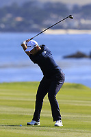 Jon Rahm (ESP) plays his 2nd shot on the 18th hole at Pebble Beach course during Friday's Round 2 of the 2018 AT&amp;T Pebble Beach Pro-Am, held over 3 courses Pebble Beach, Spyglass Hill and Monterey, California, USA. 9th February 2018.<br /> Picture: Eoin Clarke | Golffile<br /> <br /> <br /> All photos usage must carry mandatory copyright credit (&copy; Golffile | Eoin Clarke)