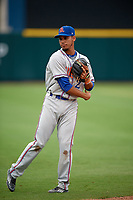 St. Lucie Mets shortstop J.C. Rodriguez (2) warms up before the second game of a doubleheader against the Lakeland Flying Tigers on June 10, 2017 at Joker Marchant Stadium in Lakeland, Florida.  Lakeland defeated St. Lucie 9-1.  (Mike Janes/Four Seam Images)