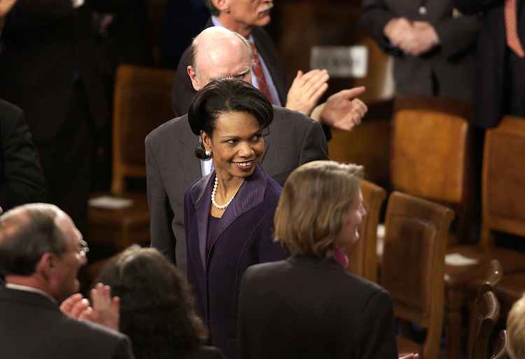 Secretary of State Condoleezza Rice looks for the President before the State of the Union address in the House chamber of the U.S. Capitol