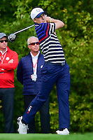 Jordan Spieth (USA) watches his tee shot on 10 during the practice round at the Ryder Cup, Hazeltine National Golf Club, Chaska, Minnesota, USA.  9/29/2016<br /> Picture: Golffile | Ken Murray<br /> <br /> <br /> All photo usage must carry mandatory copyright credit (&copy; Golffile | Ken Murray)