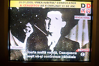 ROMANIA / Bucharest / 26.01.2009..A television screen shot of Romanian Communist dictator Nicolae Ceausescu. Romanian television played a documentary about his rule of Romania on the occasion of his birthday, 26 January. Ceausescu would have been 91 years-old in 2009, but he and his wife were executed by firing squad on Christmas day 1989 during the Romanian revolution. Romania experienced the most oppressive of the former Eastern Bloc's Communist regimes and by the late 1980s shops were empty of food, the imfamous secret police called the Securitate had created a police state and Ceausescu had launched grandisose Communist building projects modeled after North Korea that involved leveling one fifth of historic Bucharest...© Davin Ellicson / Anzenberger